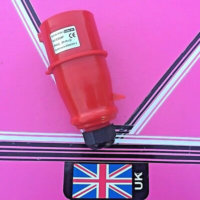 32Amp - 5 pin in line  3 phase plug 415V  IP44 rated  32 amp red