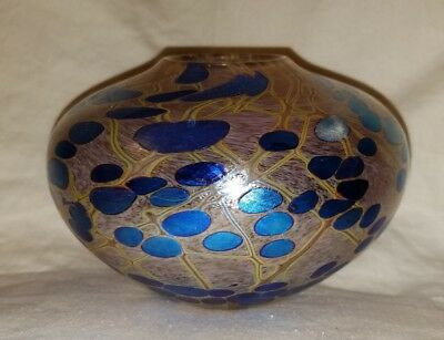 Rate Stunning Siddy Langley Signed Vintage Glass Vase Blue Design Masterpiece