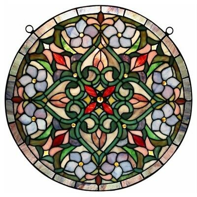 Stained Glass Window Panel Tiffany Hanging Victorian Style Round Wall Decor Art