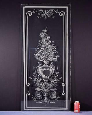 *Antique French Etched Glass Window or Panel with Flowers in an Urn 1