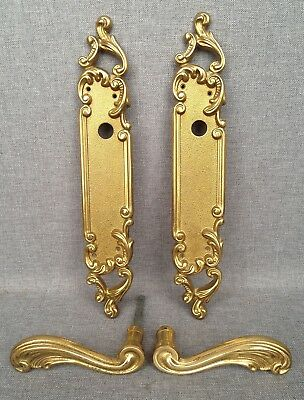 Vintage french door handles set, knob mid-1900's bronze mansion castle