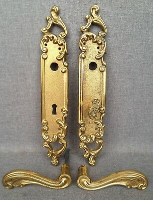 Vintage french door handles set with lock knob mid-1900's bronze mansion castle