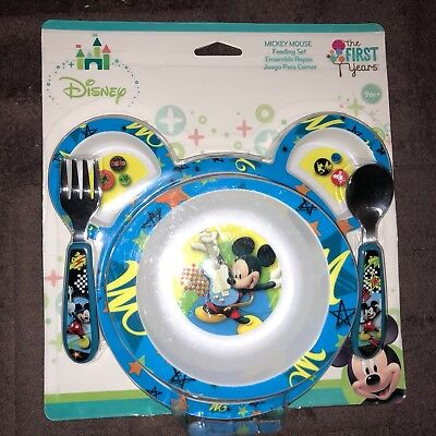 New~The First Years Disney Mickey Mouse feeding set, Plate, bowl, fork & spoon
