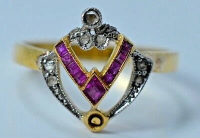 ANTIQUE ART DECO 18k Yellow Gold Ruby and Diamond Ring 2.3 Gr 750