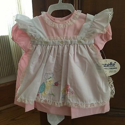 Vtg NWT Baby Girl's Pink Dress Baby Animals Embroidery Pinafore Sz 15-18 mo