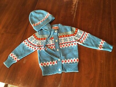 Vtg NOS Child's (Doll or Bear) Sweater Cardigan & Matching Hat Sz 18-24 months