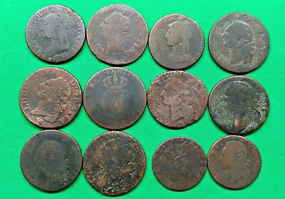 12 Mixed Old French Revolution Coins 1700's-1800's Colonial Era Just for Fun !!