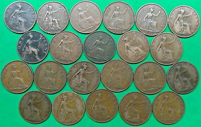 Lot of 22 Mixed Old British Large Penny Coins 1900-1948 Vintage Copper !! C