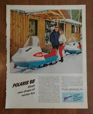 Vintage 1968 Polaris Snowmobile Paper Advertisement