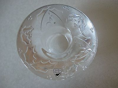 Orrefors crystal votive, holly berry design, new with tag