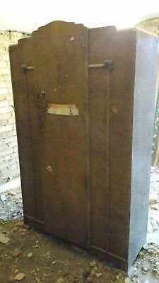 Antique wooden wardrobe. c 1960s. Shabby Chic.