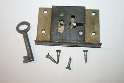 Old Vintage 2 lever Solid Brass Cabinet Lock Cupboard + Key Antique 6cm Replace