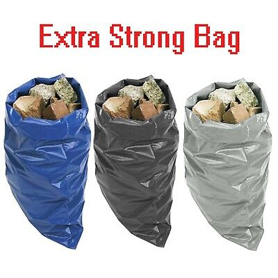 EXTRA HEAVY DUTY BLACK RUBBLE BAGS SACKS BUILDERS BAGS BLUE HIGH STRENGTH 30kg+