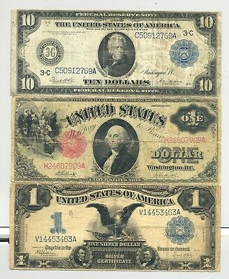 1899 $1 Silver Certificate, 1917 $1 US Note and $10 1914 Federal Reserve Note