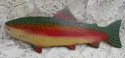 """Hand Painted Colorful 12 1/2"""" Rainbow Trout Wood Wall Hanging Plaque Signed"""