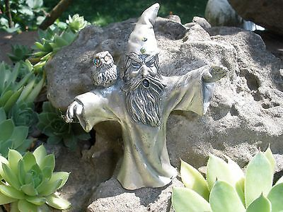 """Large Fantasy Pewter WIZARD with OWL 3.75"""" Tall over 1/2 lb."""