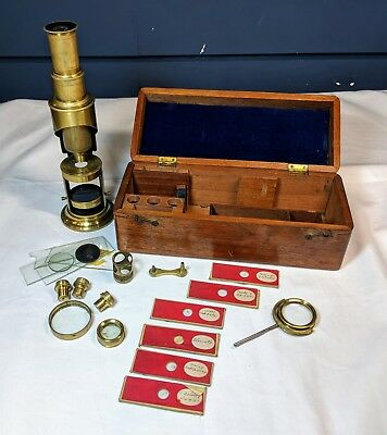 Antique Brass Microscope Original Box Sample Slides & Different Magnifying Lens