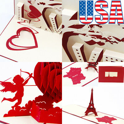 3D Pop Up Cards Valentine Lovers Happy Birthday Anniversary Greeting Cards EAUS