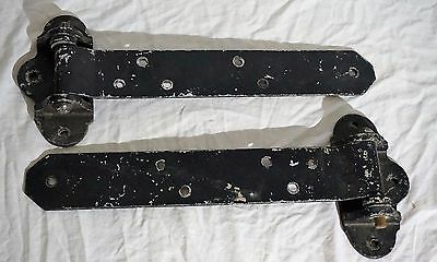 "Pair Of Vintage Antique 16"" Rustic Farm Barn Door Cast Iron Gate Strap Hinges"