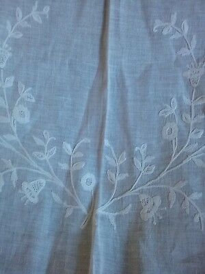 Vintage White on White Embroidered Tablecloth Flowers Fine Cotton 52X67