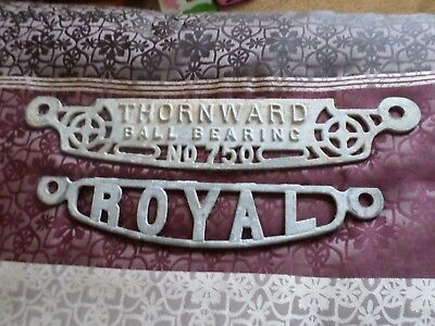 Vintage Cast Iron Signs Thornward No 750 and Royal