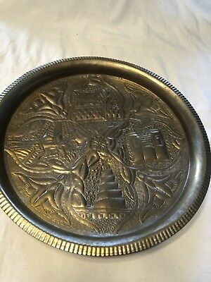 Hand Tooled Hammered Tin Punch Decorative Asian Plate