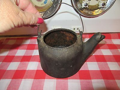 Vintage Small Toy Wagner Cast Iron Tea Kettle - No Lid