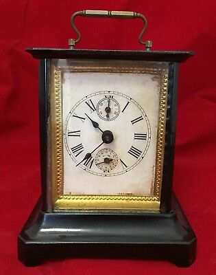 Junghans Antique German Musical Carriage Alarm Clock Ca. 1900 Working W/ Key