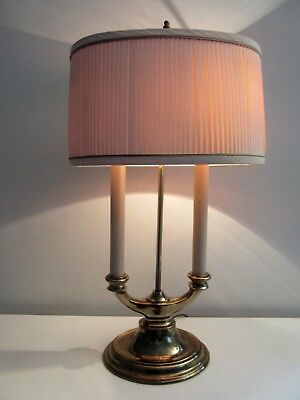 Stiffel Brass Bouillotte Table Desk 2 Candle Candlestick Lamp Hollywood Regency
