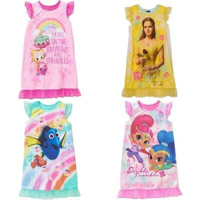 NWT Girl's Nightgown Belle Shimmer & Shine Dory Shopkins 4 5 6 6X 7 8 10 12 Pink
