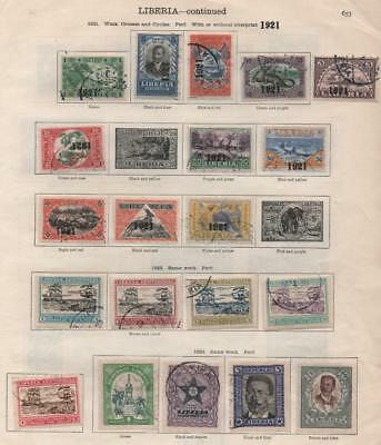 LIBERIA: 1921-1929 Examples - Ex-Old Time Collection - 2 Sides of Page (13500)