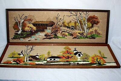 2 Kitsch Mid Century Vintage Gravel Pebble Art Farm Landscape Carriage Bridge