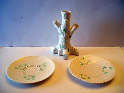 Vintage Belleek  Irish Belleck Porcelain Shamrock Tree Trunk Vase & 2 saucers