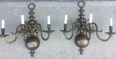 Pair of 1920's Antique 3 Arm Bronze Wall Sconces Caldwell?