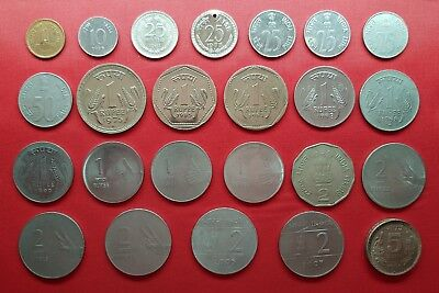 India 24 Coins , 1 , 10 , 25 , 50 Paise , 1 , 2 , 5 Rupees 1959 - 2009