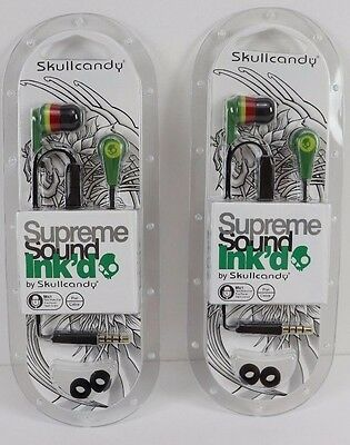 New Lot of 2 Rasta Skullcandy Ink'd Supreme Sound Earbuds w Mic