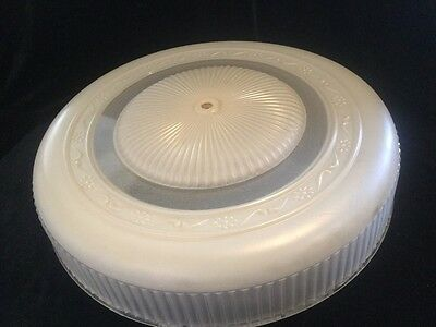 "Antique 1930's Art Deco Round Flush Mount 15"" Glass Ceiling Light Fixture"