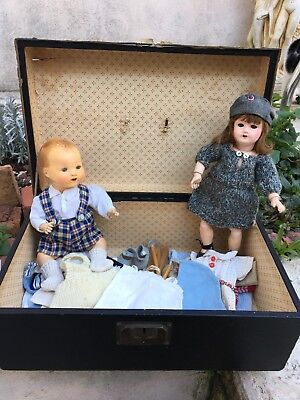 Bambino And Bleuette In Trunk With Original GL Outfits