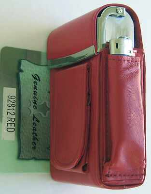 Red Genuine Leather Pop Up Cigarette Case. Metal Frame. 100s. 2 Lighter Holders