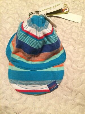 New Ted Baker Baby Boys Stripe Jersey Cap 0-6 Months 100% Cotton Reversible
