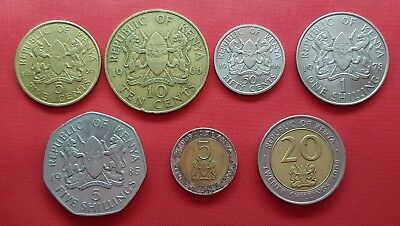Kenya 7 Coins , 5 , 10 , 50 Cents , 1 , 5 , 20 Shillings 1966 - 2009  , XF