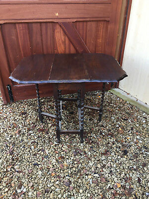Dark Wood Old Small Dining Table with drop leaves