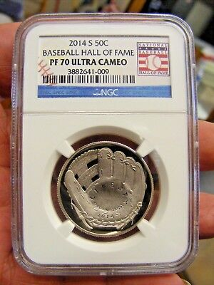 2014-s baseball hall of fame half dollar pf 70 ultra cameo ngc