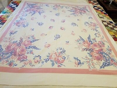 "Vintage Cotton Tablecloth Pink & Blue Floral 52"" X 44"""