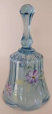 Blue FENTON glass decorative bell hand painted & signed L Fleming VINTAGE