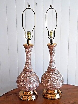 "Pair Vintage Hippy Boho Retro 60's Mid Century 31"" Ceramic Table Lamps Lights"