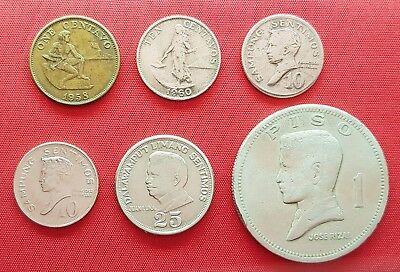 Philippines Old 6 Coins , 1 , 10 , 25 Centavos 1958 - 1972 , XF