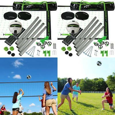Dunlop Outdoor Sports Volleyball Set: Portable Net With Poles, Ball &Amp; Air Pu