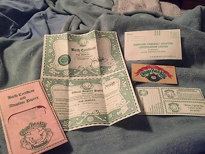 Vintage Cabbage Patch Kid Birth Certificate & Adoption Papers FAE JESSLYN 1984