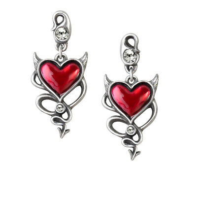 Ladies & Girl Stud Earrings Valentines Heart Shape Crystal Silver Pewter Alchemy